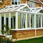 Modern conservatory with double pointed roof